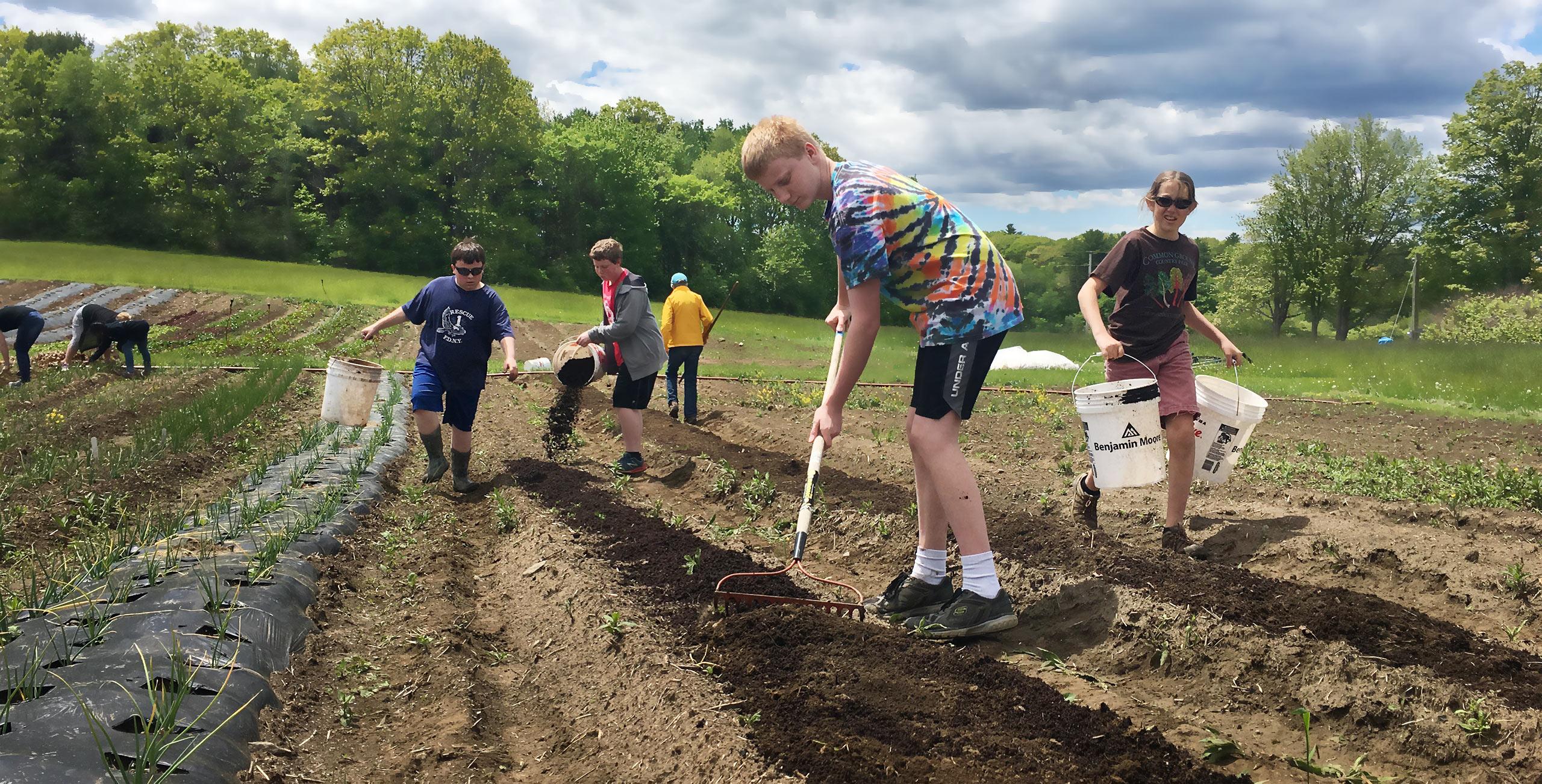 boys hauling and raking compost at Twin Villages Foodbank Farm