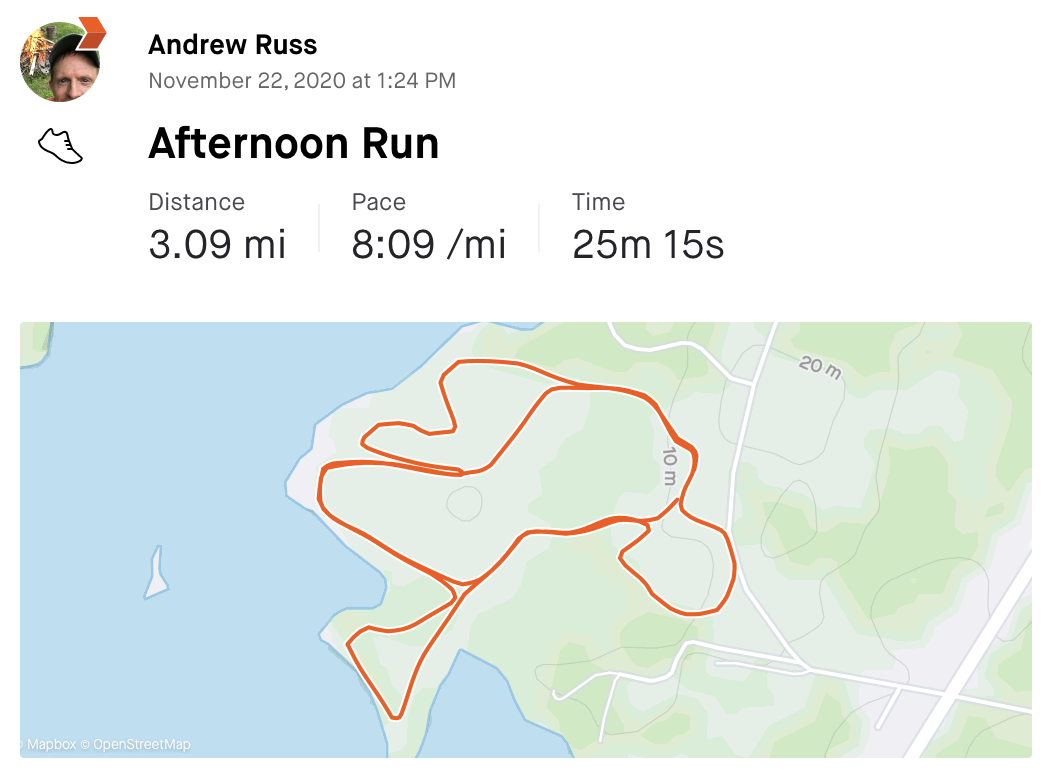 Andy's run stats on Strava