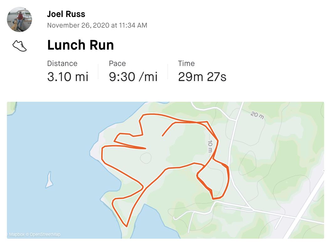 Joel's run stats on Strava